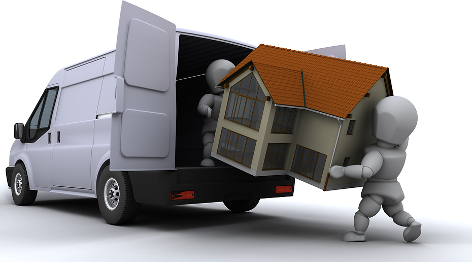 Man with van in Bristol carrying a house into his large home removals van with his assistant