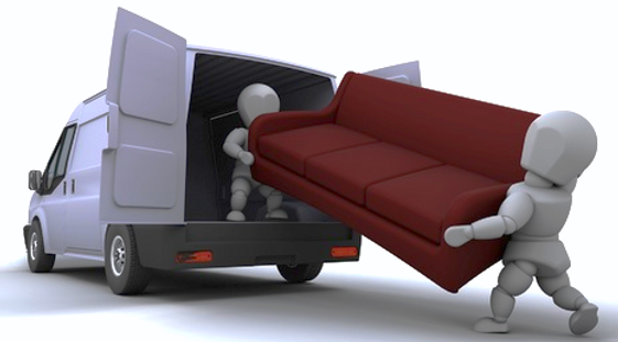 man with van lifting a sofa into his home removals van with the assistance of another person