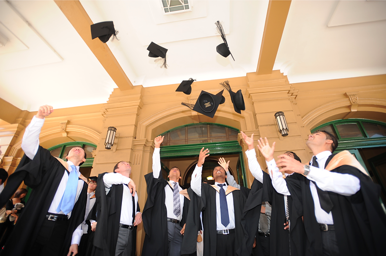 students from Bristol throwing their hats into the air after graduation