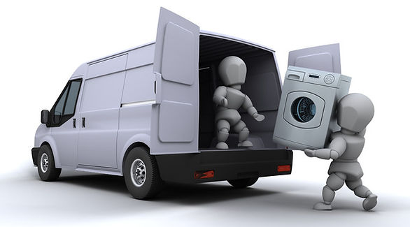 man with van lifting a washing machine to his home removals van