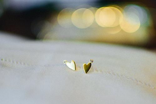 Brinco de ouro Coração com brilhante