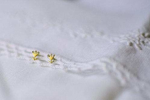 Brinco de ouro Florzinha com brilhantes
