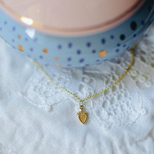 Colar de ouro Coração com coroa
