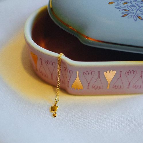 Colar de ouro Coroa com mini pingente de coração
