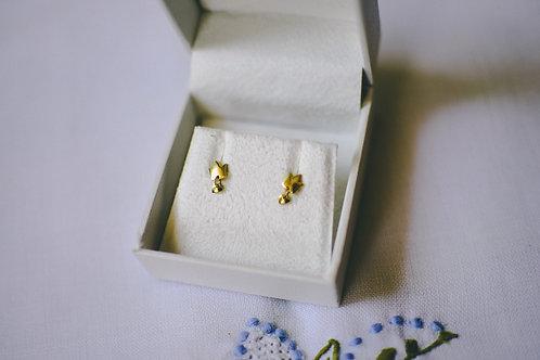 Brinco de ouro Coroa com mini pingente de coração