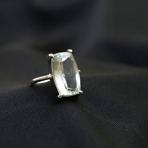 Anel de prata com prasiolita