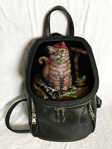 Pirate Kitten Backpack - SheBlackDragon 3D Lenticular