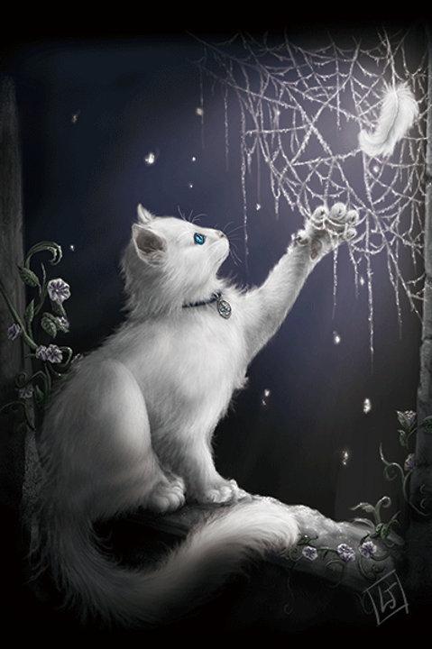 Snow Kitten Postcard - SheBlackDragon 3D Lenticular