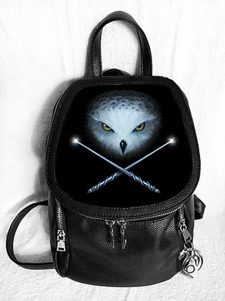 Owl And Crossed Wands Backpack - Anne Stokes 3D Lenticular