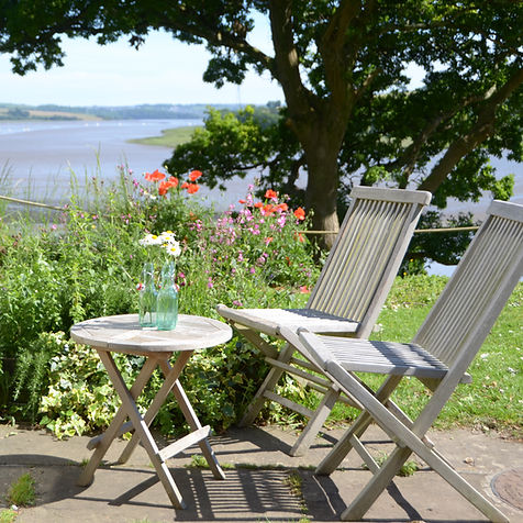 The terrace with views of Devon and Cornwall across the Tamar River