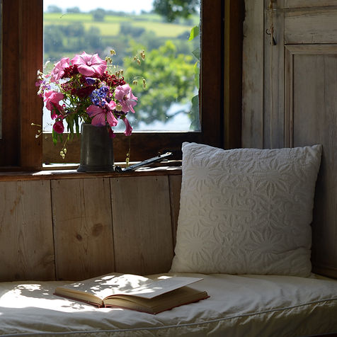Relaxing window seat in the cottage overlooking the River Tamar