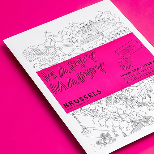 Coloriage Poster Bruxelles - Happy Mappy