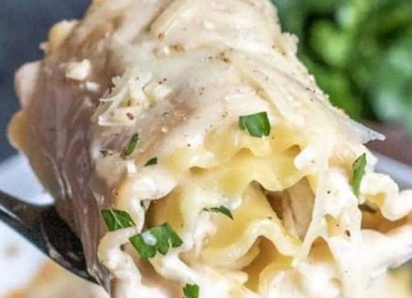 Lasagne roulée au poulet et épinards