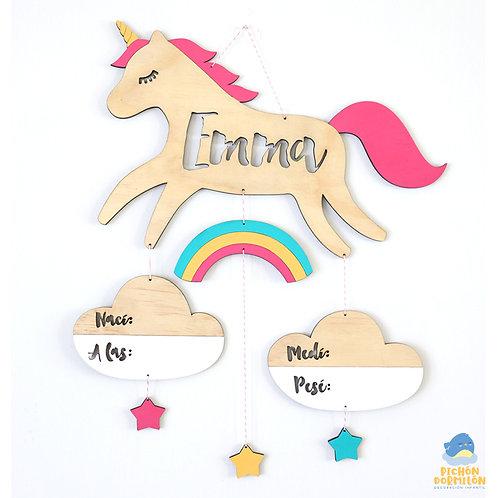 """Letrero de Nacimiento """"Unicornio"""" Personalizado"""