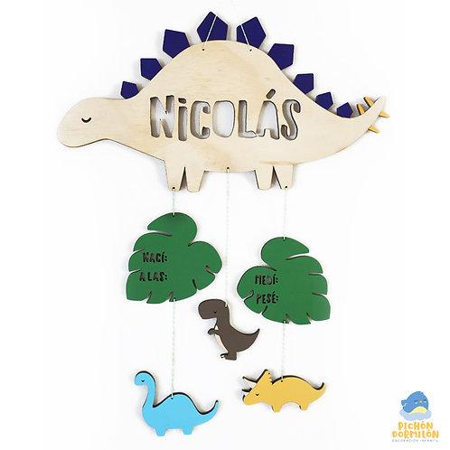 """Letrero de Nacimiento """"Dinosaurios"""" Personalizado"""