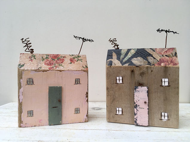 Houses with wallpapered roofs