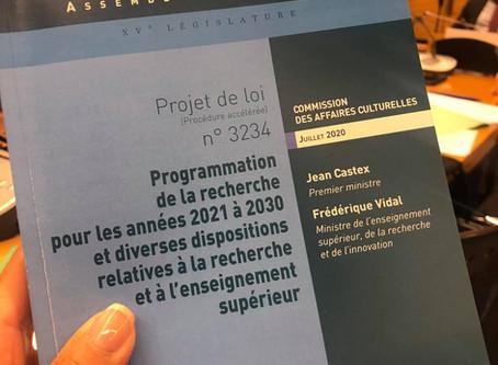 Projet de loi de programmation de la recherche 2021-2030
