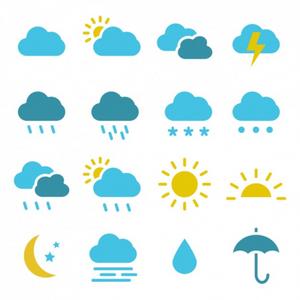 symboles météo nuage, pluie, soleil