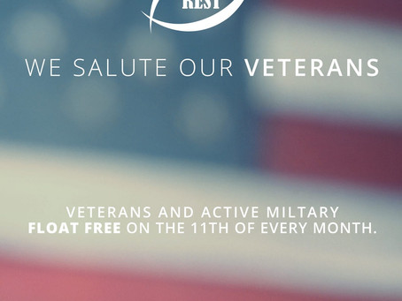 True REST Float Spa To Donate Free Sessions to Veterans on 11/11 Plus, With Every Purchase from 10/2