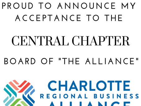 Proud to Announce My Acceptance on the Charlotte Regional Business Alliance Central Chapter Board