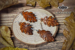 Leather Autumn Oak Leaf Dangle Earrings Long Brown