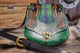 Carved Tooled Green Tartan Leather Bag Celtic Viking Raven