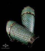 Green Scaled Leather Bracers Archery Arm Guards Dragon Dragonscale