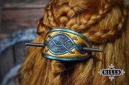 Handmade celtic carved leather hair stick barrette
