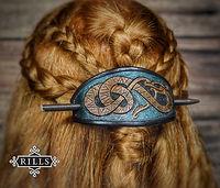 Handmade viking serpent carved leather hair stick barrette