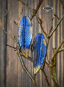 Blue and Gold Metallic Leather Feather Earinngs