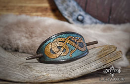 Leather Carved Viking Serpent Hair Barrette
