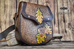 Carved Tooled Leather Oak Leaf Acorn Messenger Bag Forest Themed
