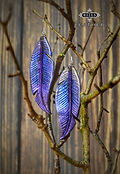 Purple and Gold Metallic Leather Feather Earrings