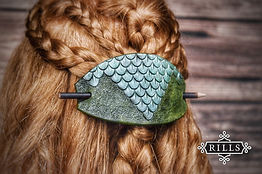 Handmade Dragonscale stamped leather hair stick barrette