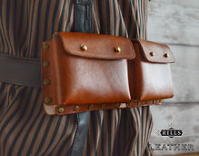 Double Leather Steampunk Belt Pouch Costume Accessory Larp Cosplay