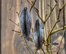 Silver and Black Leather Raven Earrings