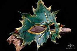 Green Leather Maple Leaf Mask Masquerade Costume Elf Fairy Larp Cosplay