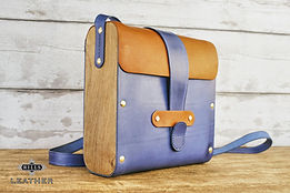 Wooden Wood and Leather Satchel Bag Italian Marine Blue Leather