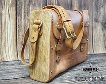Leather and Oak Wood Satchel Bag