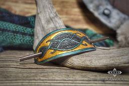 Celtic Knotwork Hair Barrette Carved Leather