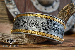 Leather Carved Viking Celtic Cuff Bracelet