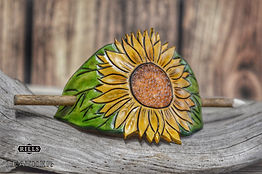 Carved Leather Sunflower Hair Barrette Dreadlock Holder