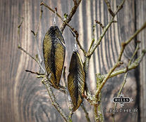 Gold and Black Leather Feather Earrings on 925 Silver Hooks