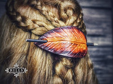 Handmade carved leather Autumn leaf stick hair barrette