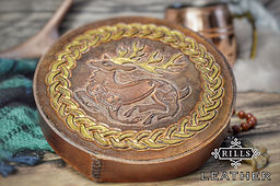 Celtic Stag Carved Leather Jewellery Box