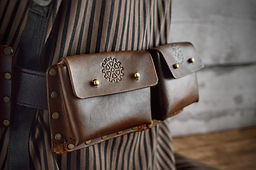 Double Leather Belt Pouch Steampunk Accessory