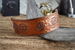 Hammered Copper Effect Leather Steampunk Cuff Bracelet