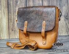 Hand Stitch Leather Messenger Bag Tooled Woodgrain Pattern