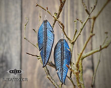 Black Raven Feather Earrings Leather Blue