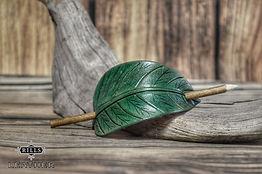 Green Leather Leaf Hair Barrette Fairy, Larp, Elf